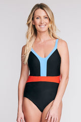 BELTED ONE PIECE SWIMSUIT IN SOLID BLACK BY MAZU SWIM