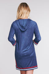 ZIP-UP HOODED TERRY CLOTH COVERUP IN SOLID NAVY BY MAZU SWIM