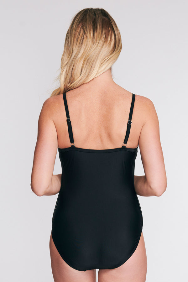 DRAPED TIER MESH ONE PIECE SWIMSUIT IN SOLID BLACK BY MAZU SWIM