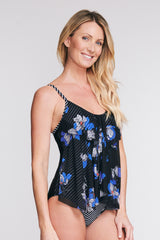DRAPED TIER MESH ONE PIECE SWIMSUIT IN TOSSED TULIP BY MAZU SWIM