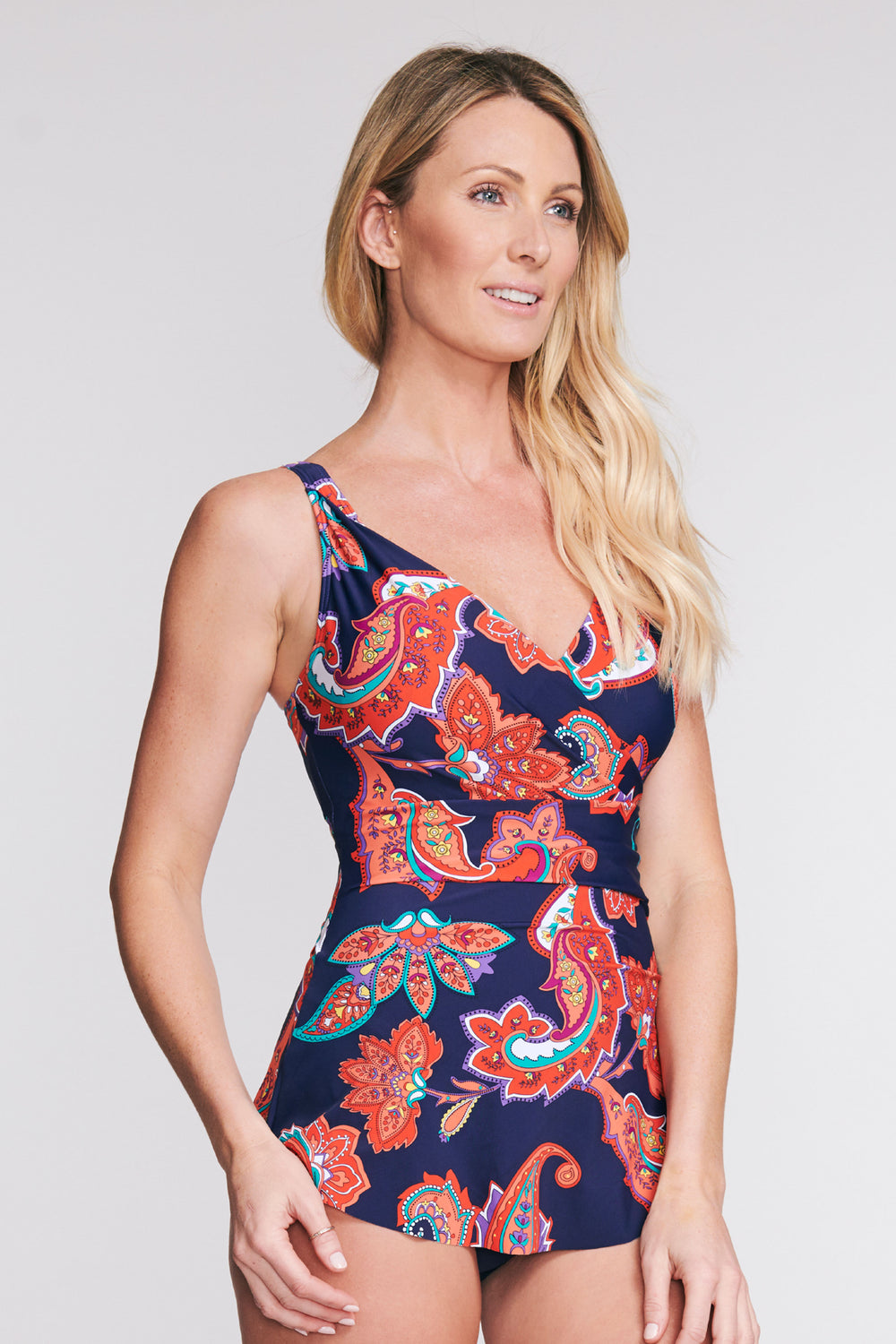 WRAP SWIMDRESS IN PAISLEY BLOSSOM BY MAZU SWIM