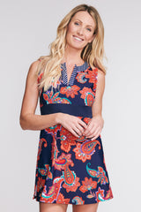 SPLIT NECK COVERUP DRESS IN PAISLEY BLOSSOM BY MAZU SWIM