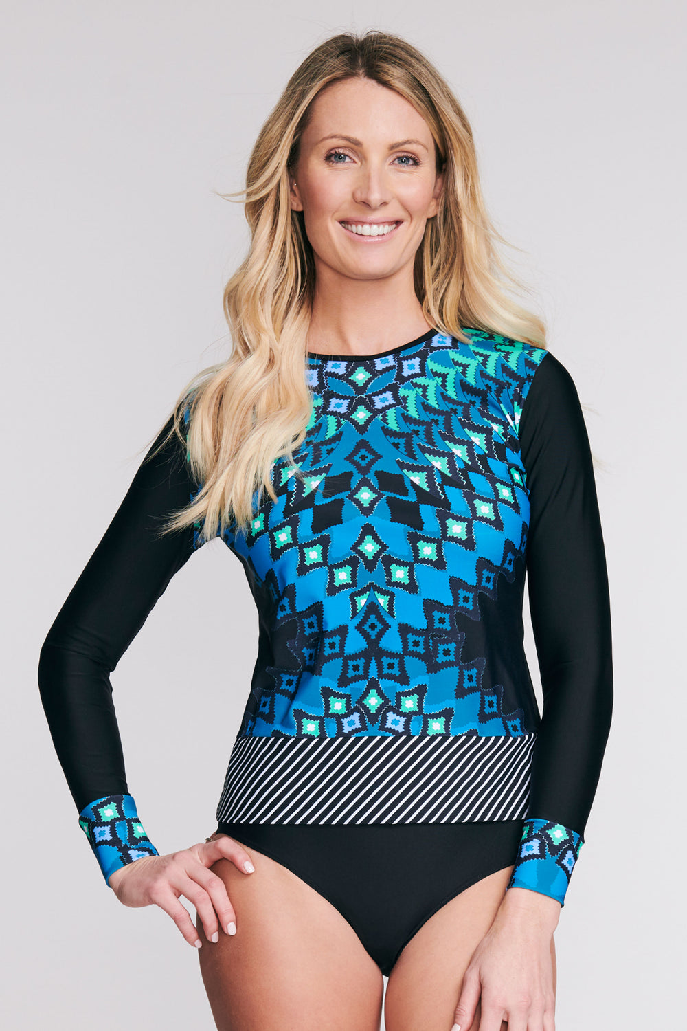 LONG SLEEVE RASHGUARD COVERUP IN DIAMOND MIRROR BY MAZU SWIM