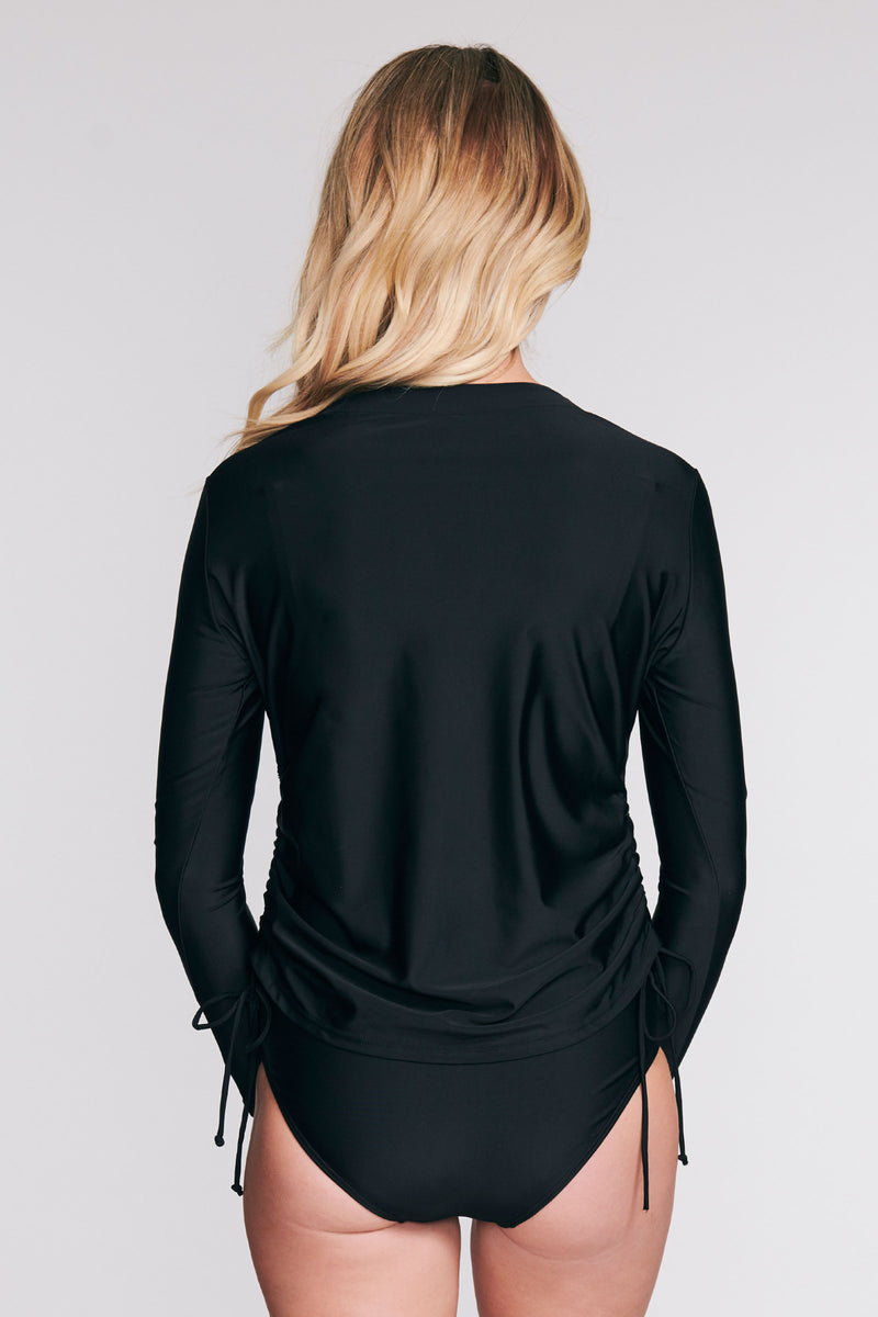 TRICOT TUNIC COVERUP IN SOLID BLACK BY MAZU SWIM