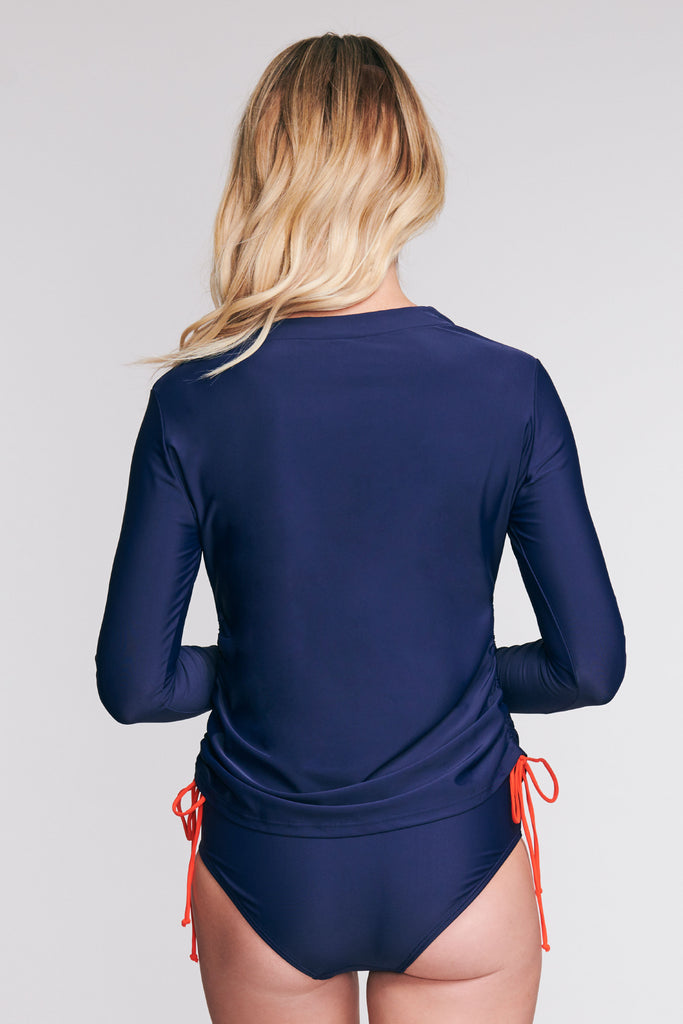 TRICOT TUNIC COVERUP IN SOLID NAVY BY MAZU SWIM