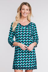 3/4 SLEEVE TERRY CLOTH COVERUP IN SCALLOPED CHEVRON BY MAZU SWIM