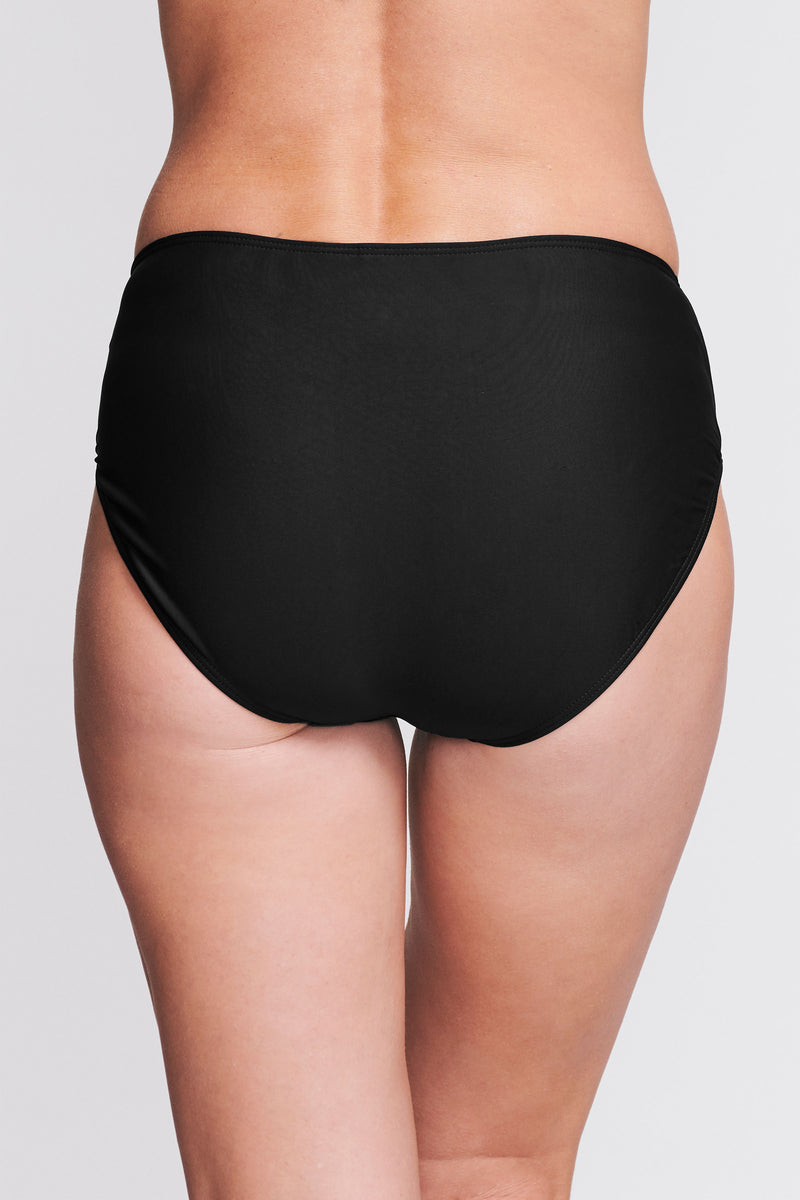 Mid Waist Brief in Solid Black