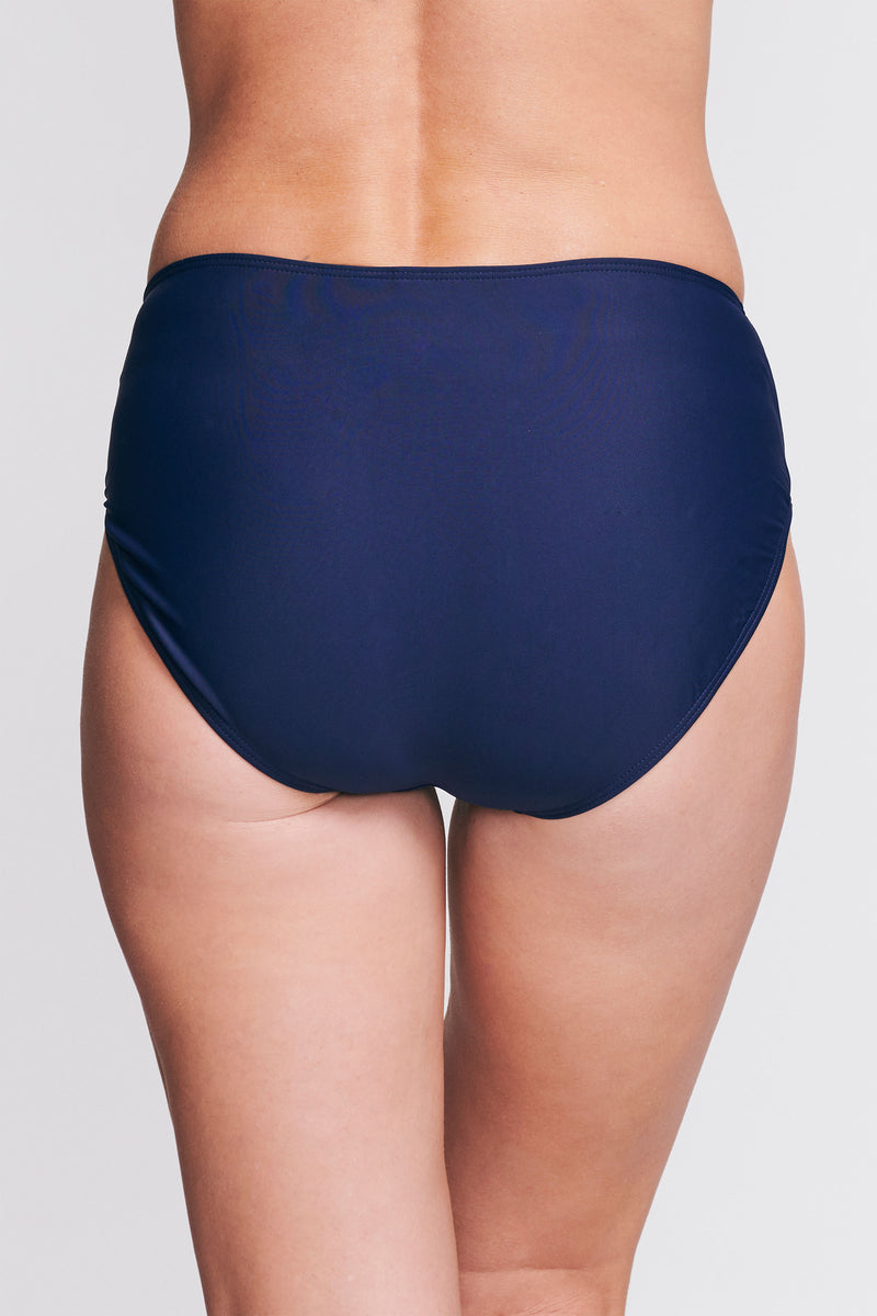Mid Waist Brief in Solid Navy