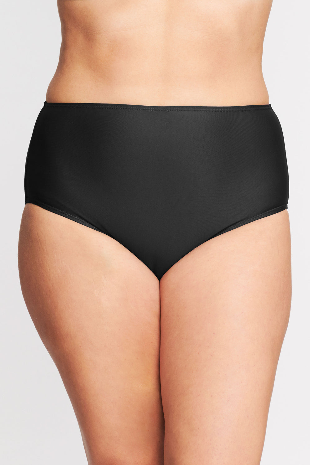 PLUS SIZE MID WAIST BRIEF IN SOLID BLACK BY MAZU SWIM