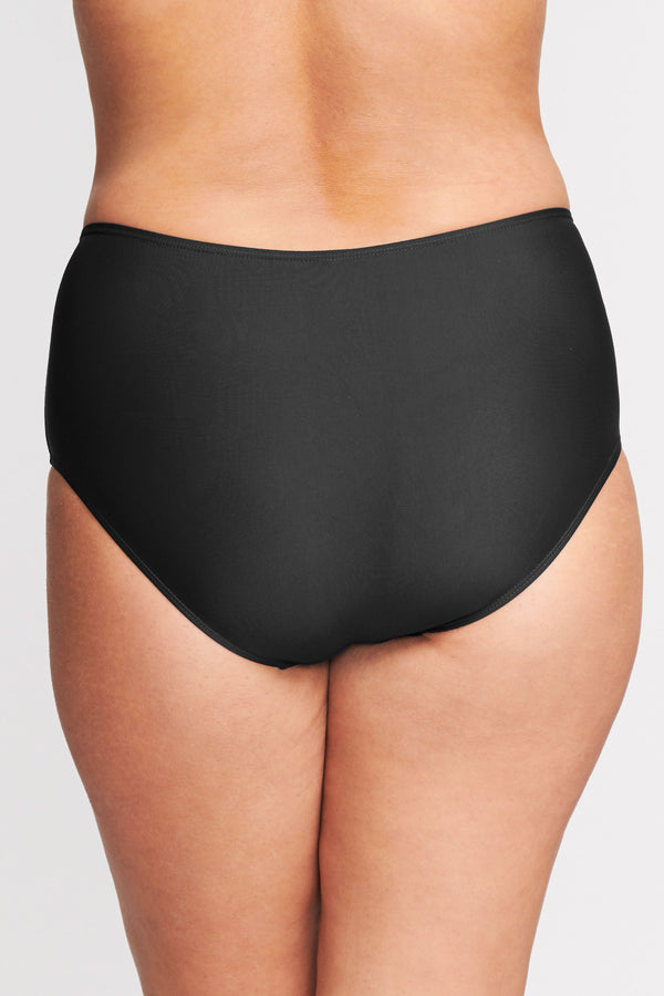Plus Size Mid Waist Brief in Solid Black