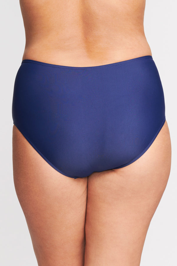 Plus Size Mid Waist Brief in Solid Navy