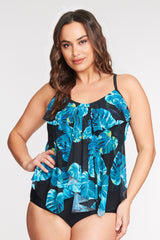 PLUS SIZE DRAPED TIER MESH TANKINI IN SHADY PALM BY MAZU SWIM