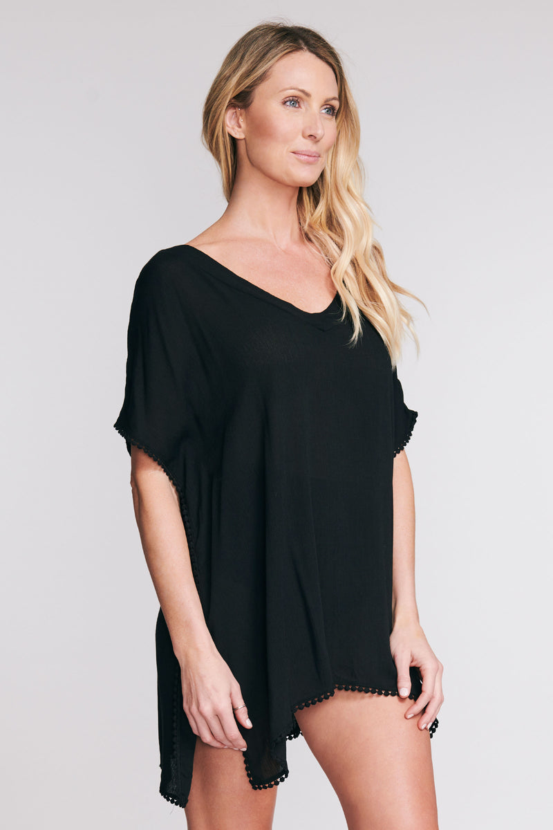 POM POM KAFTAN COVERUP IN SOLID BLACK BY MAZU SWIM