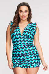 PLUS SIZE GRECIAN SKATER RUCHED ONE PIECE SWIMDRESS IN SCALLOPED CHEVRON BY MAZU SWIM