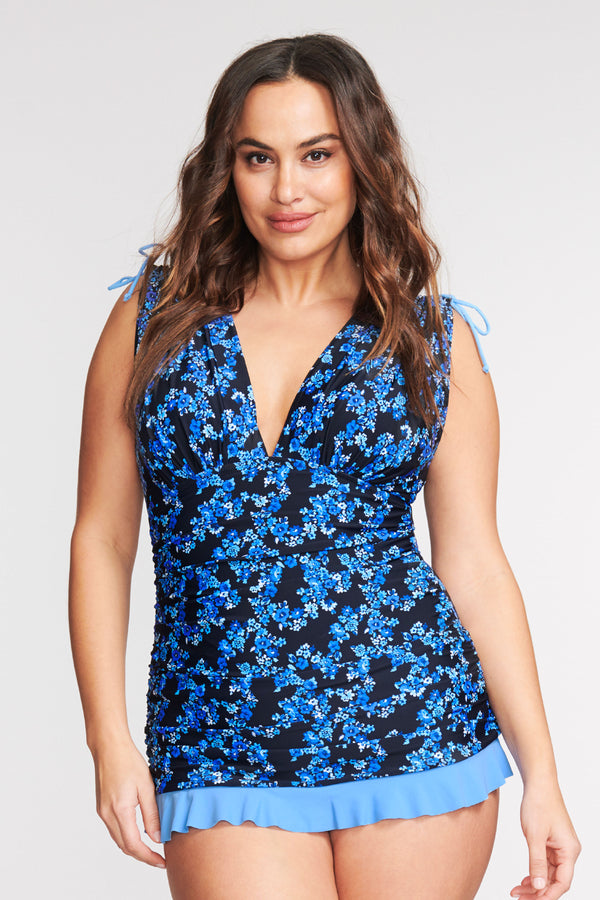 PLUS SIZE GRECIAN SKATER RUCHED ONE PIECE SWIMDRESS IN LIBERTY GARDEN BY MAZU SWIM