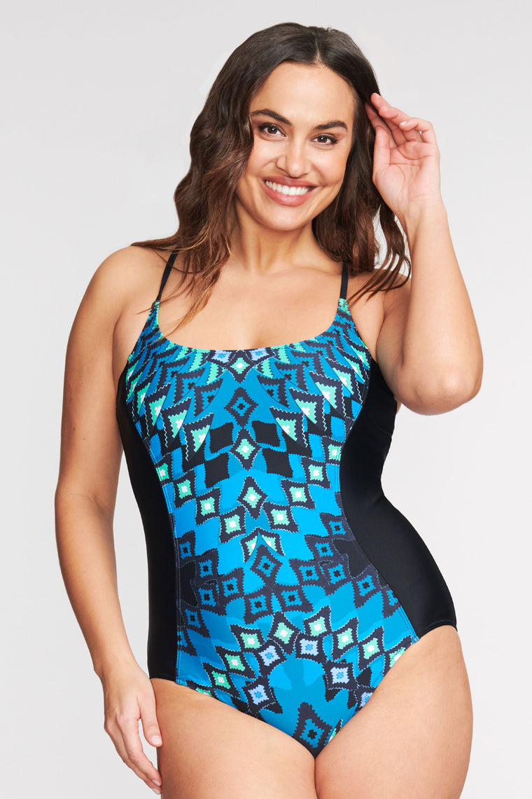 PLUS SIZE SCOOP NECK ONE PIECE SWIMSUIT IN DIAMOND MIRROR BY MAZU SWIM