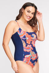PLUS SIZE SCOOP NECK ONE PIECE SWIMSUIT IN PAISLEY BLOSSOM NAVY BY MAZU SWIM