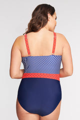 PLUS SIZE BELTED ONE PIECE SWIMSUIT IN DOT TO DOT BY MAZU SWIM