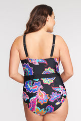 PLUS SIZE BELTED ONE PIECE SWIMSUIT IN PAISLEY BLOSSOM BY MAZU SWIM