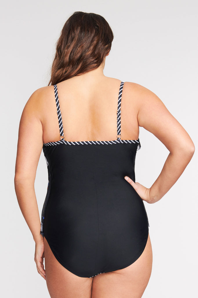 PLUS SIZE DRAPED TIER MESH ONE PIECE SWIMSUIT IN TOSSED TULIP BY MAZU SWIM