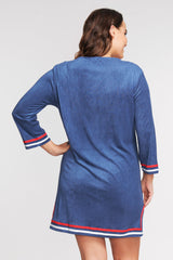 PLUS SIZE 3/4 SLEEVE TERRY CLOTH COVERUP IN SOLID NAVY BY MAZU SWIM