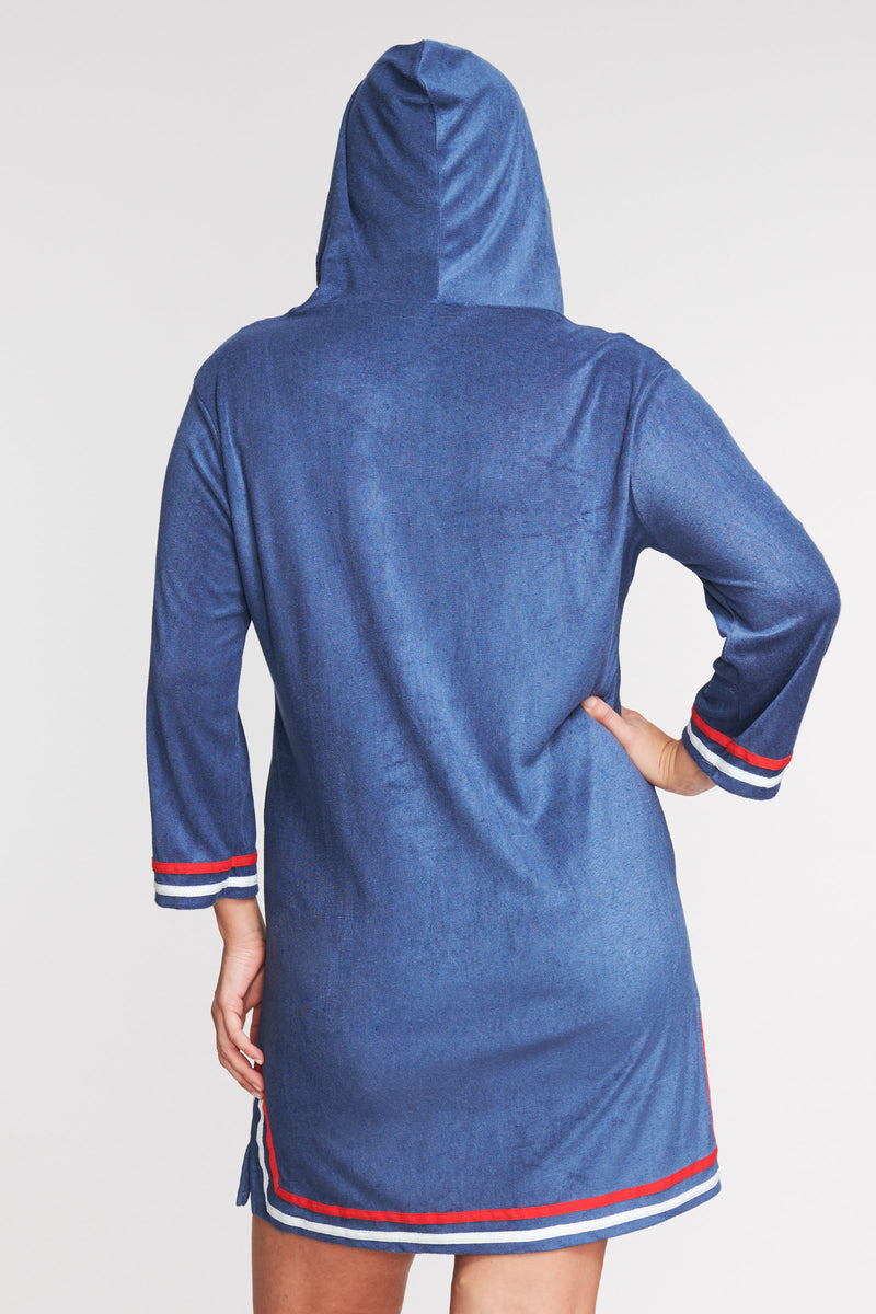 PLUS SIZE ZIP-UP HOODED TERRY CLOTH COVERUP IN SOLID NAVY BY MAZU SWIM