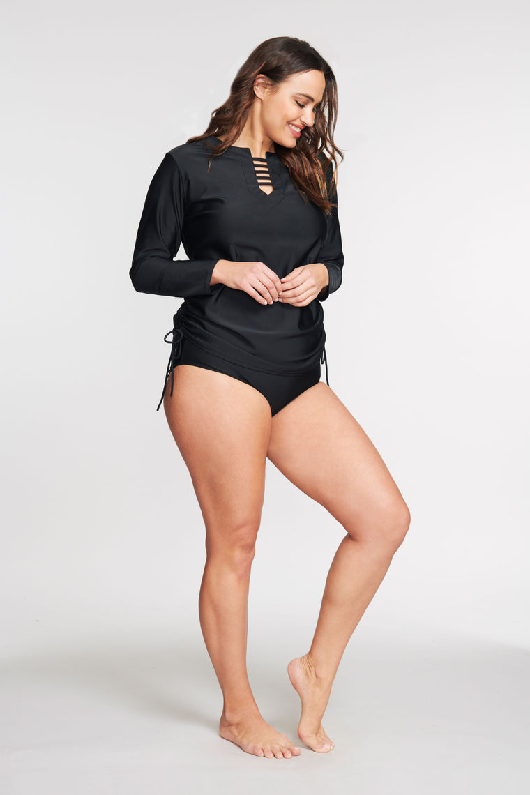 PLUS SIZE TRICOT TUNIC COVERUP IN SOLID BLACK BY MAZU SWIM