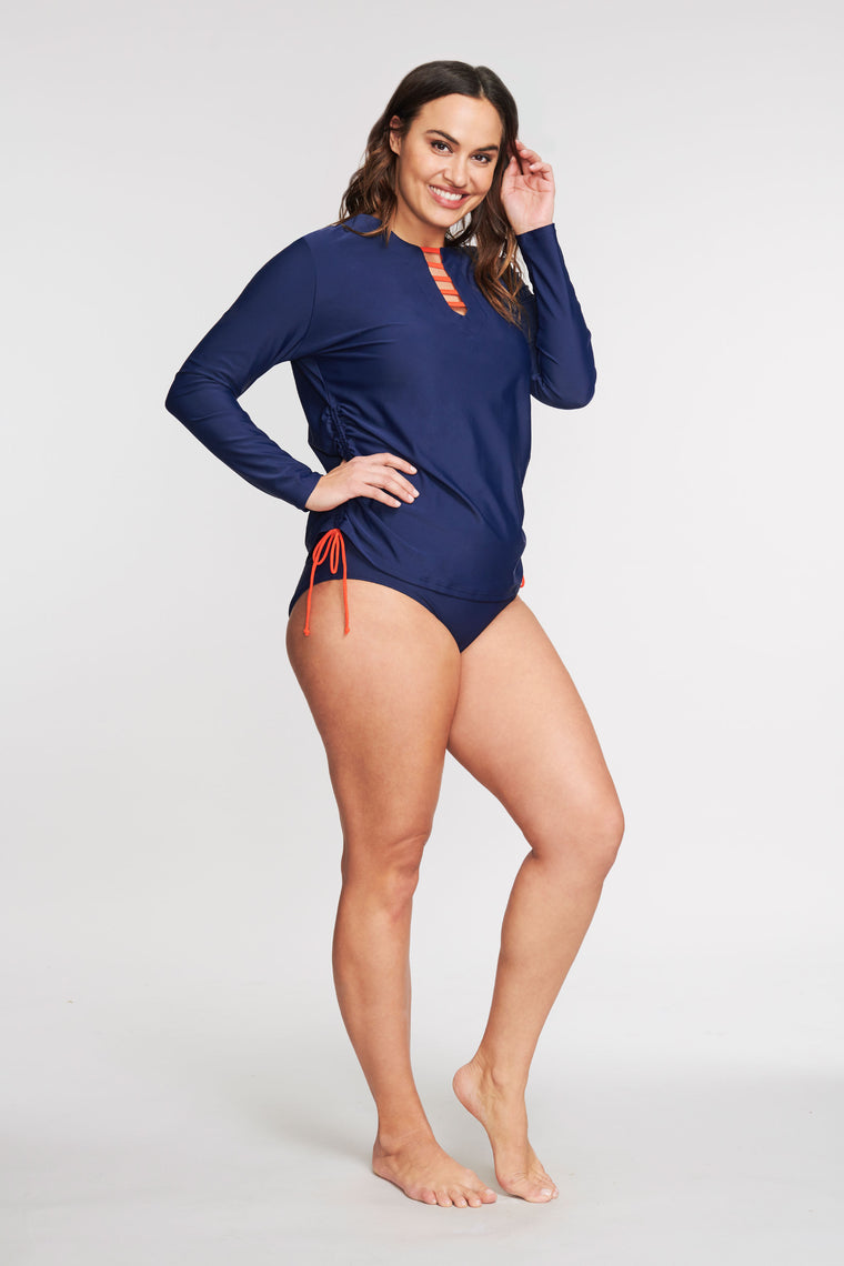 PLUS SIZE TRICOT TUNIC COVERUP IN SOLID NAVY BY MAZU SWIM