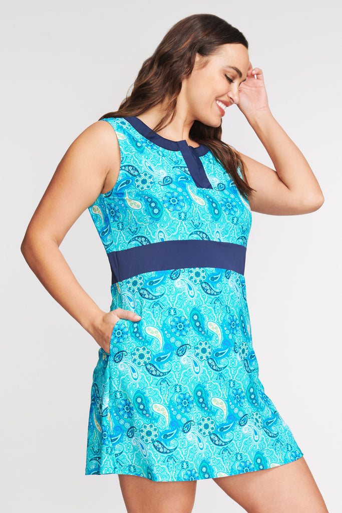 PLUS SIZE SPLIT NECK COVERUP DRESS IN FIESTA PAISLEY BY MAZU SWIM