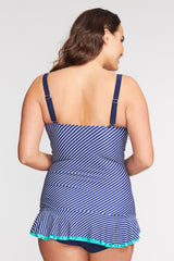 PLUS SIZE SHIRRED ONE PIECE SKATER SWIMDRESS IN GRAND DIAGONAL BY MAZU SWIM