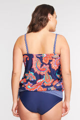 PLUS SIZE DRAPED BLOUSON TANKINI IN PAISLEY BLOSSOM NAVY BY MAZU SWIM