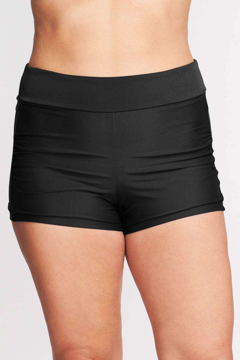 Plus Size Contouring Waistband Swim Short in Solid Black