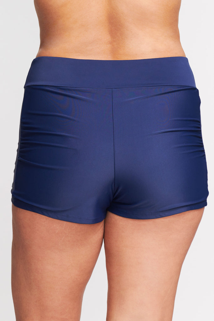 PLUS SIZE CONTOURING WAISTBAND SWIM SHORT IN SOLID NAVY BY MAZU SWIM