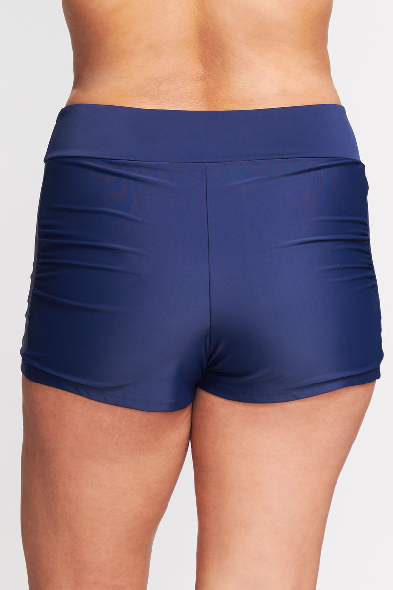 Plus Size Contouring Waistband Swim Short in Solid Navy