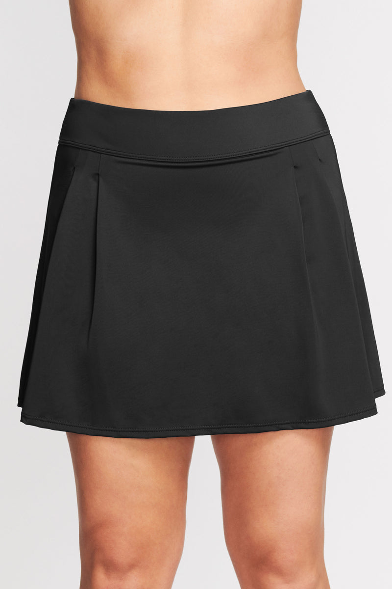 Plus Size Pleated Long Length Swim Skirt in Solid Black