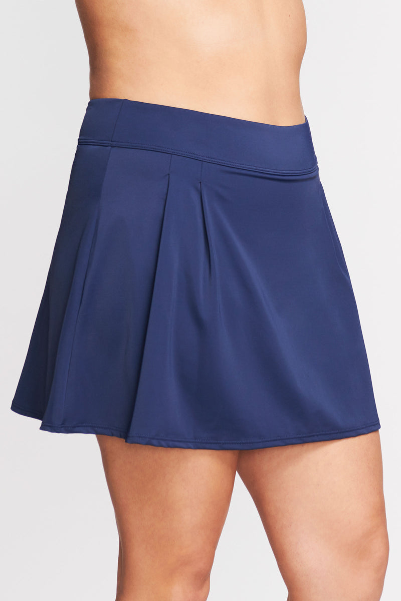 Plus Size Pleated Long Length Swim Skirt in Solid Navy