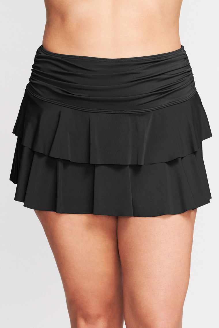 PLUS SIZE DOUBLE RUFFLE RUCHED SWIM SKIRT IN SOLID BLACK BY MAZU SWIM