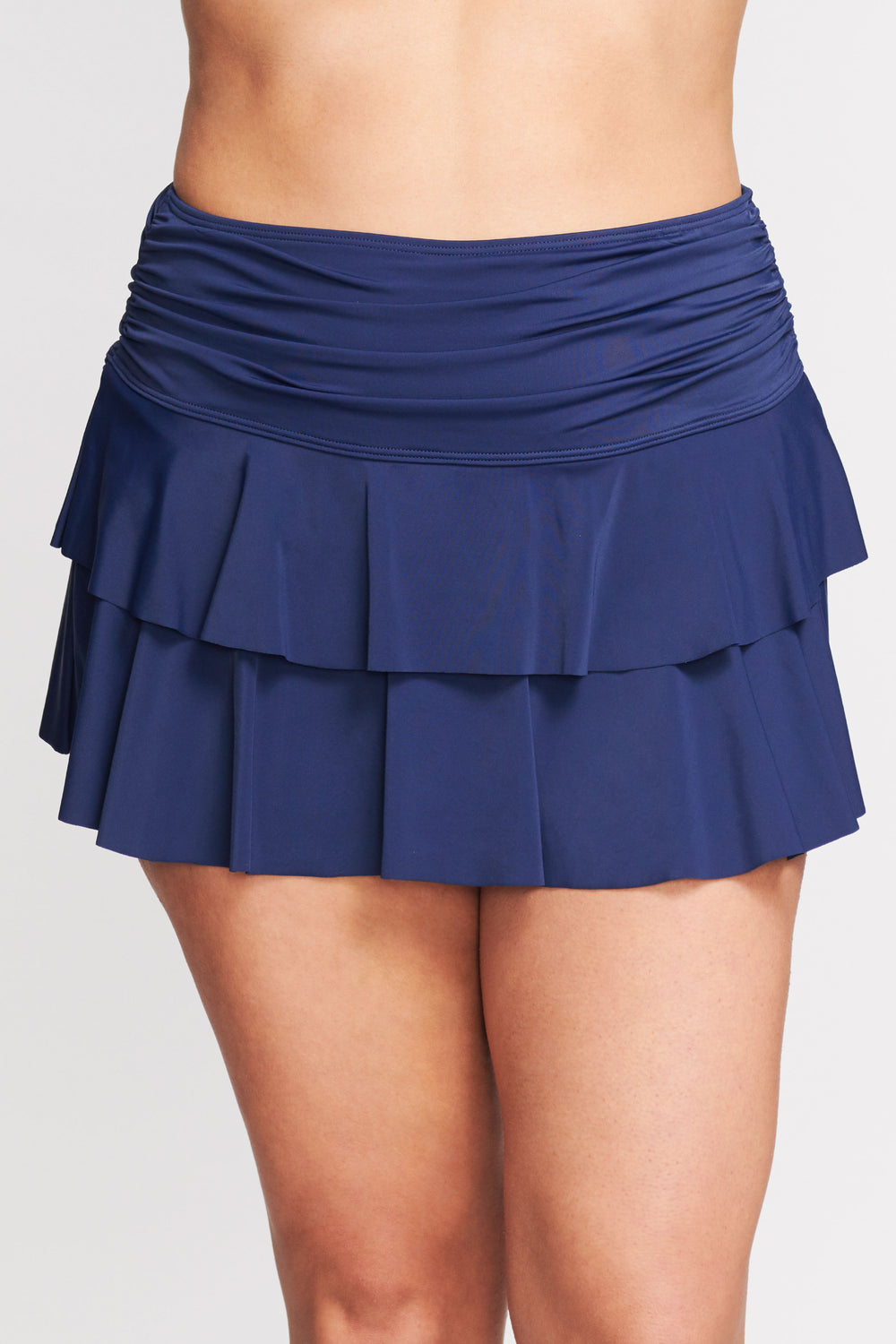 PLUS SIZE DOUBLE RUFFLE RUCHED SWIM SKIRT IN SOLID NAVY BY MAZU SWIM