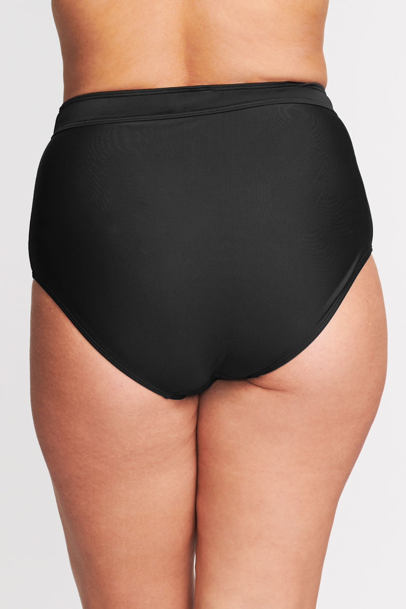 Plus Size High Waist Brief in Solid Black