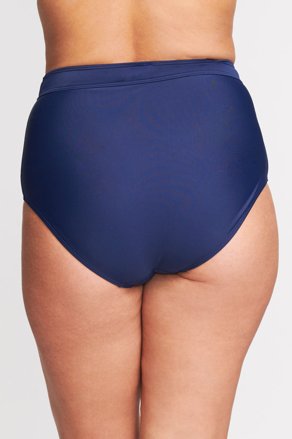 Plus Size High Waist Brief in Solid Navy