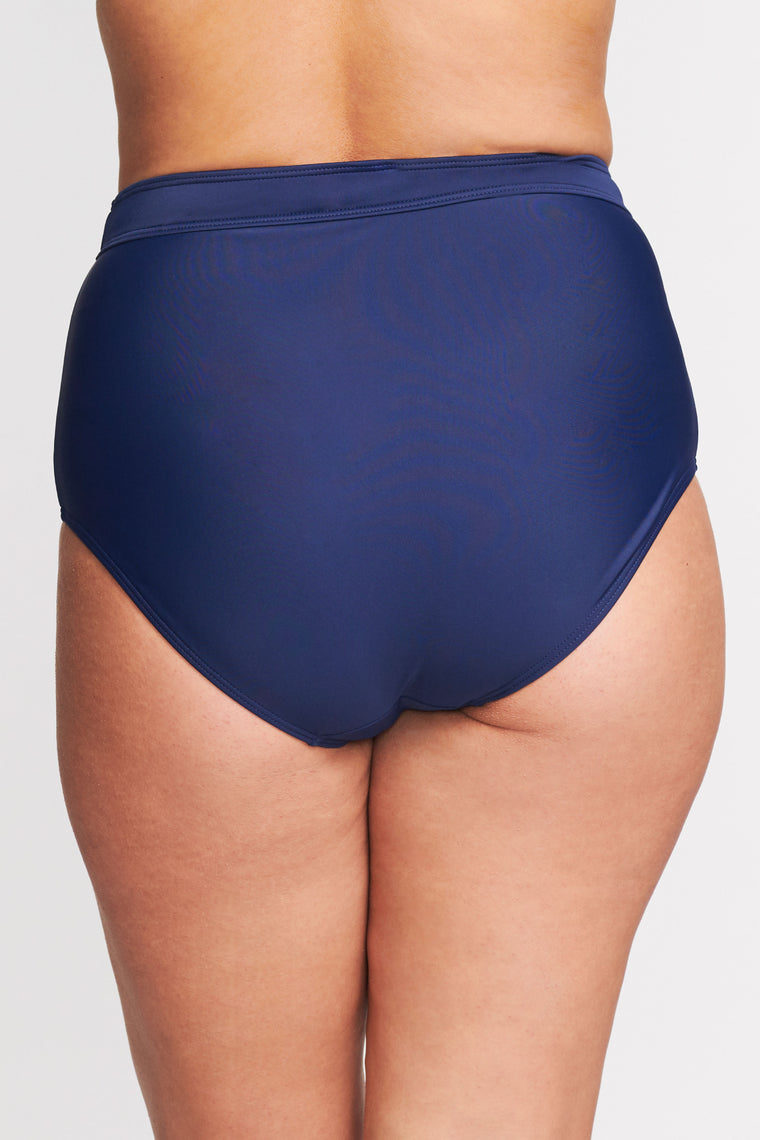 PLUS SIZE HIGH WAIST BRIEF IN SOLID NAVY BY MAZU SWIM