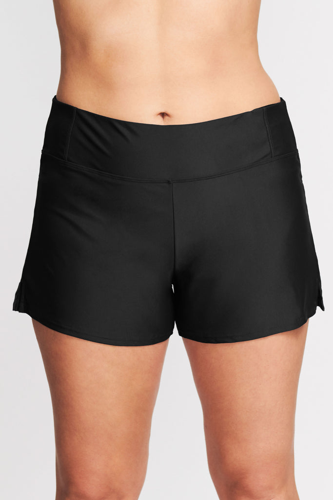 PLUS SIZE SWIM SHORT WITH BUILT IN BRIEF IN SOLID BLACK BY MAZU SWIM