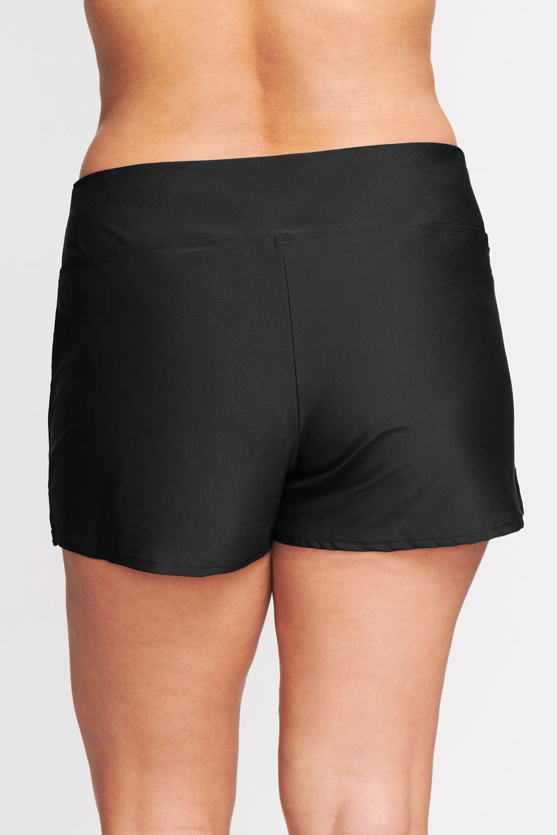 Plus Size Swim Short with Built in Brief in Solid Black
