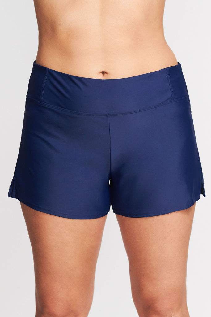 PLUS SIZE SWIM SHORT WITH BUILT IN BRIEF IN SOLID NAVY BY MAZU SWIM