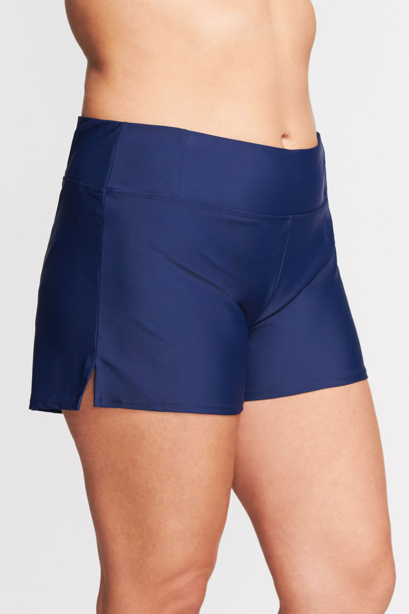 Plus Size Swim Short with Built in Brief in Solid Navy