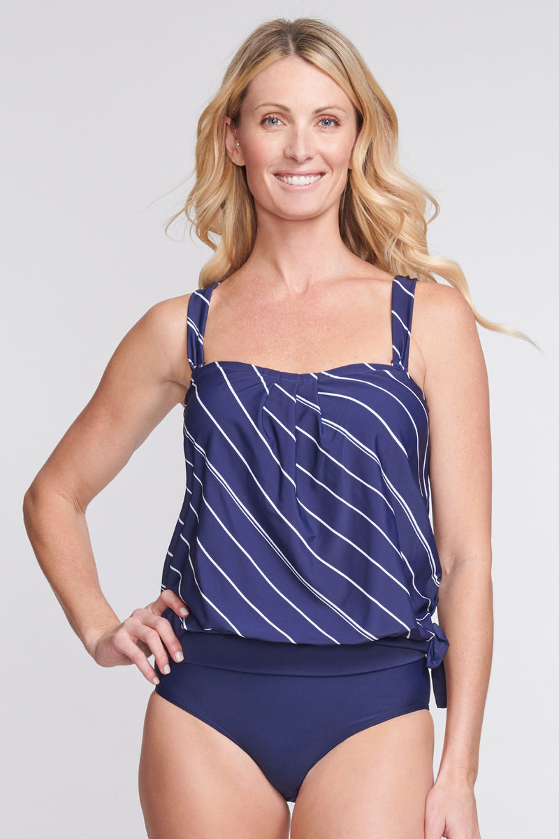 Draped Blouson Tankini Top in Tie Stripe