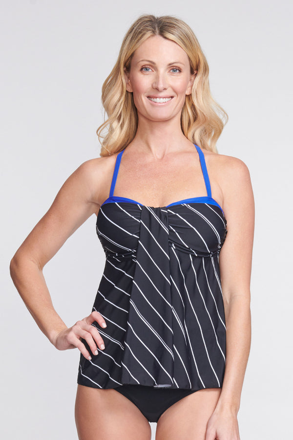 Strappy Back Drape Bandeau Tankini Top in Tie Stripe