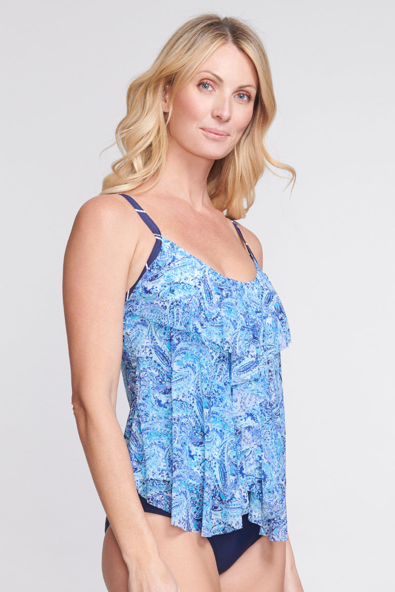 Draped Tier Mesh Tankini Top in Watercolor Paisley