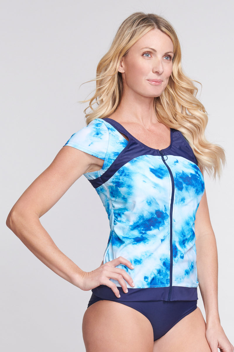 Zip Front Rashguard Tankini Top with Built in Bra in Ocean Tie Dye