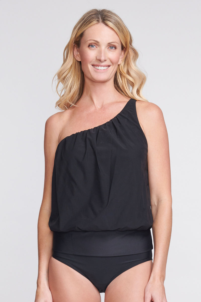 Asymmetrical Mesh Blouson Tankini Top in Solid Black